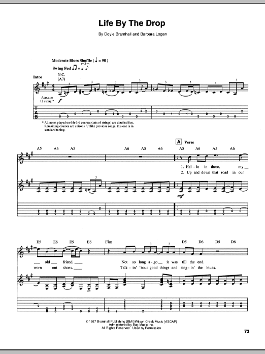 Stevie Ray Vaughan Life By The Drop sheet music preview music notes and score for Easy Guitar Tab including 3 page(s)