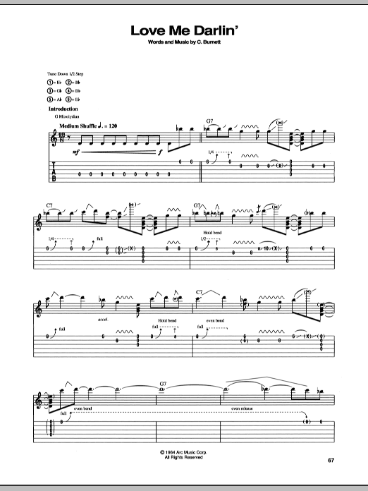 Stevie Ray Vaughan Love Me Darlin' sheet music notes and chords
