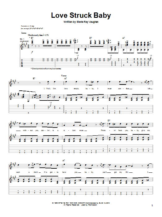 Stevie Ray Vaughan Love Struck Baby sheet music preview music notes and score for Guitar Tab including 6 page(s)