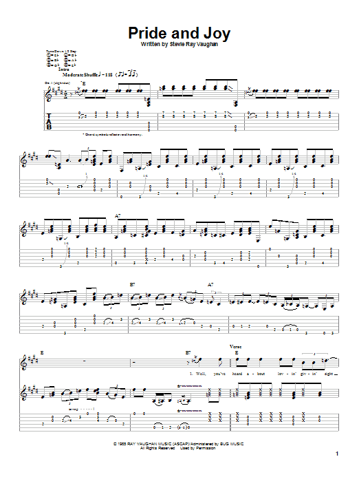 Stevie Ray Vaughan Pride And Joy sheet music preview music notes and score for Guitar Tab including 9 page(s)