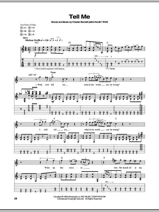 Stevie Ray Vaughan Tell Me sheet music notes and chords