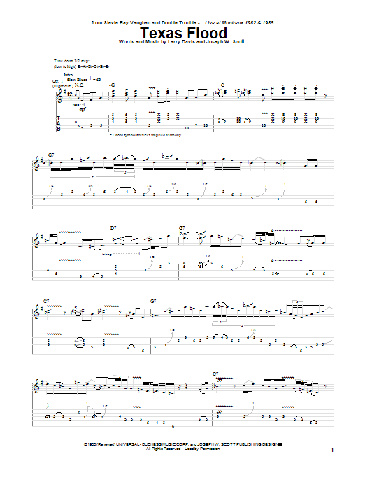Stevie Ray Vaughan Texas Flood sheet music preview music notes and score for Guitar Tab including 18 page(s)