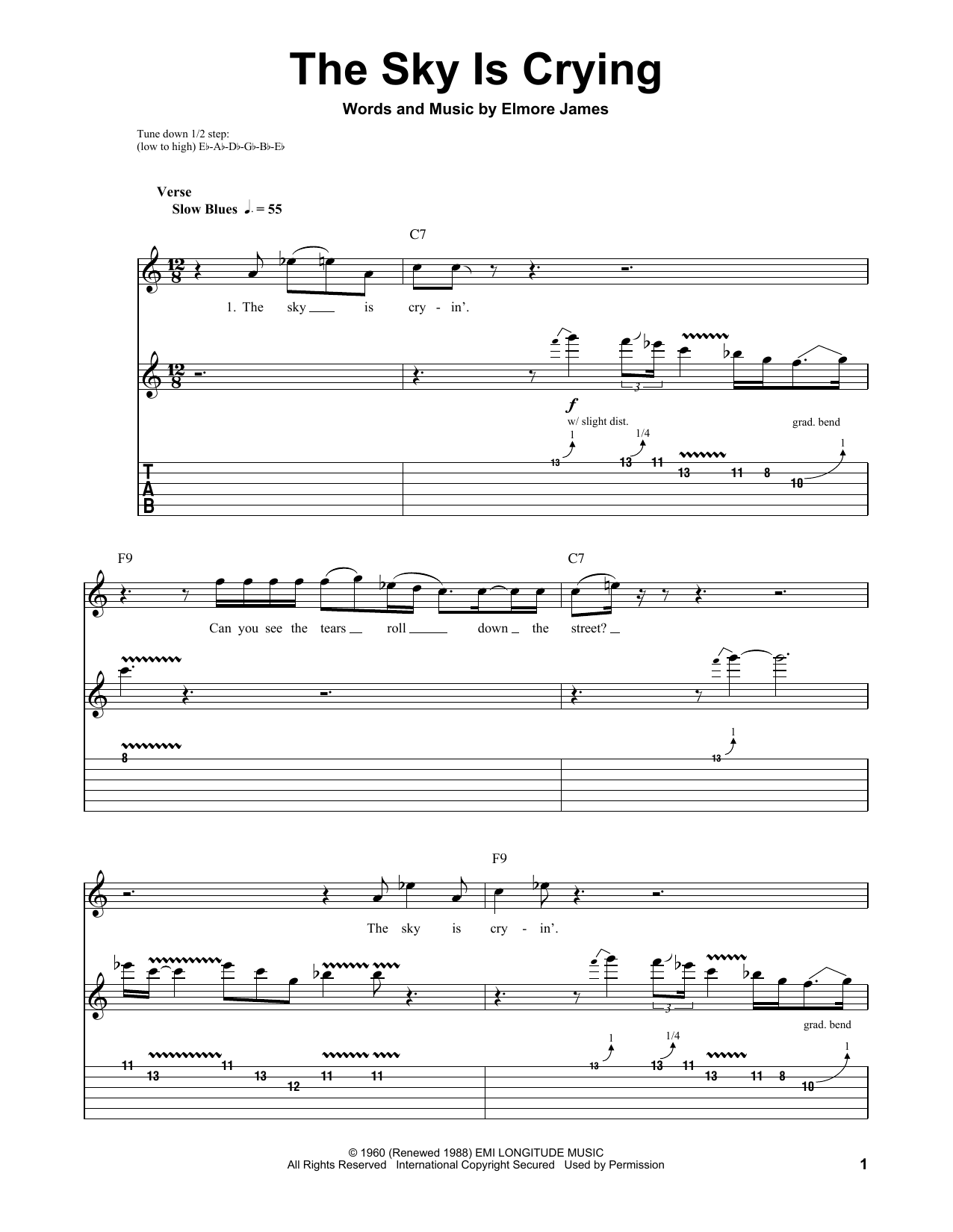 Download Stevie Ray Vaughan 'The Sky Is Crying' Digital Sheet Music Notes & Chords and start playing in minutes