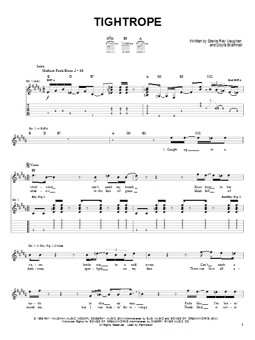 Download Stevie Ray Vaughan 'Tightrope' Digital Sheet Music Notes & Chords and start playing in minutes