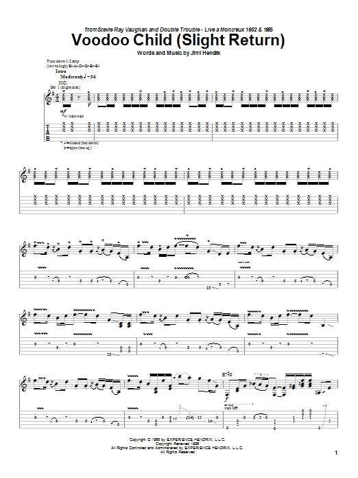 Stevie Ray Vaughan Voodoo Child (Slight Return) sheet music notes and chords