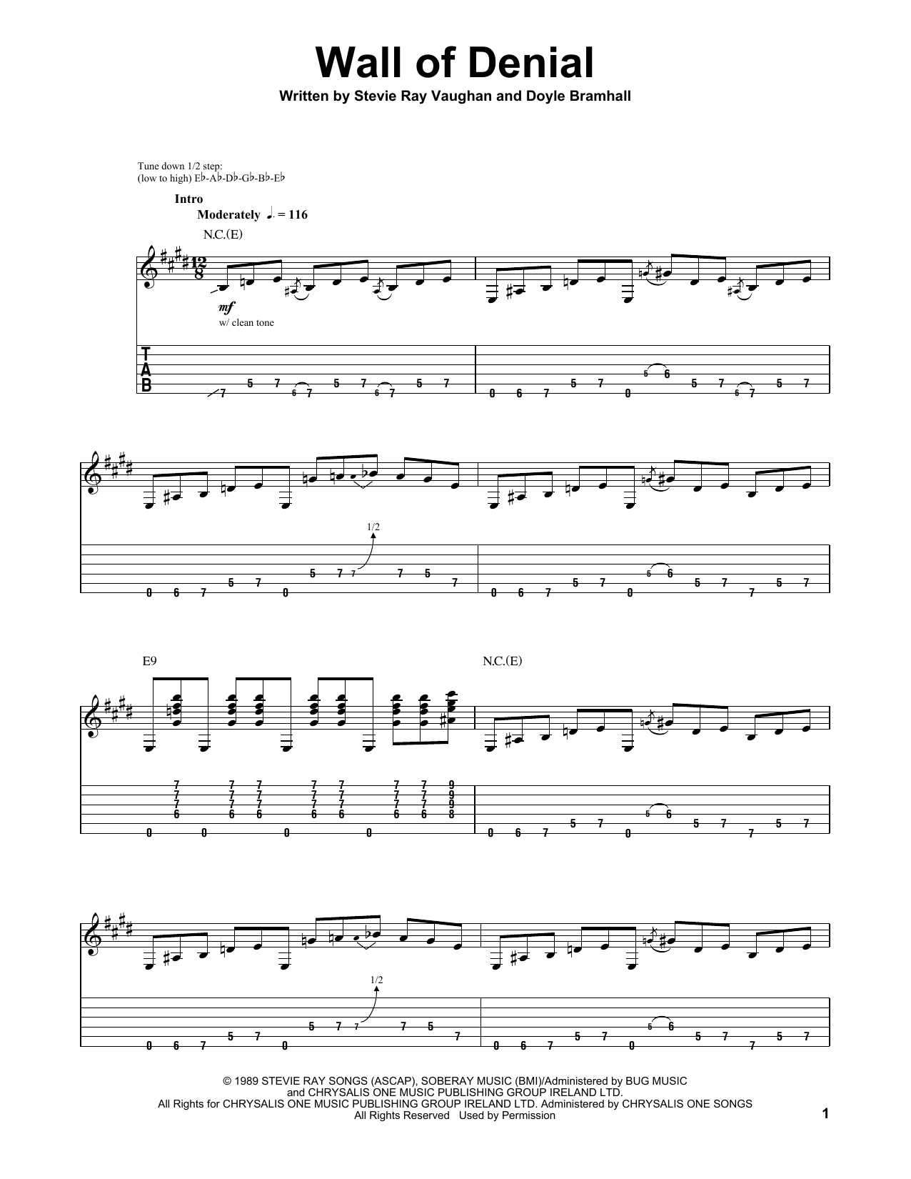 Stevie Ray Vaughan Wall Of Denial sheet music preview music notes and score for Guitar Tab including 14 page(s)