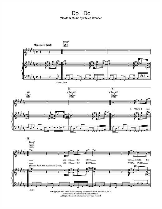 Download Stevie Wonder 'Do I Do' Digital Sheet Music Notes & Chords and start playing in minutes