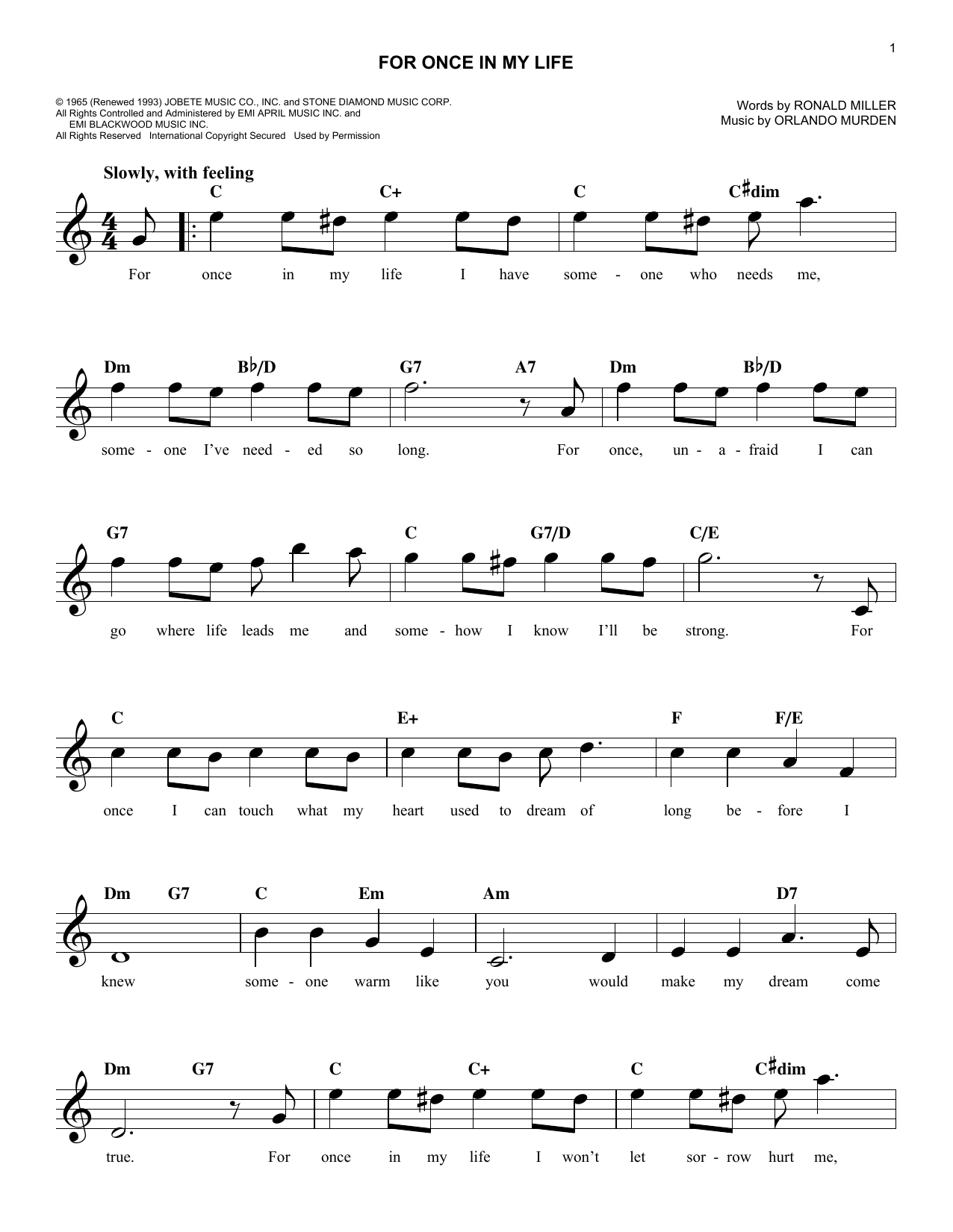 Stevie Wonder For Once In My Life sheet music preview music notes and score for E-Z Play Today including 2 page(s)