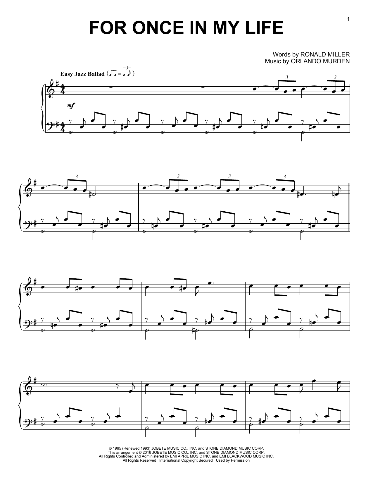 Download Stevie Wonder 'For Once In My Life' Digital Sheet Music Notes & Chords and start playing in minutes