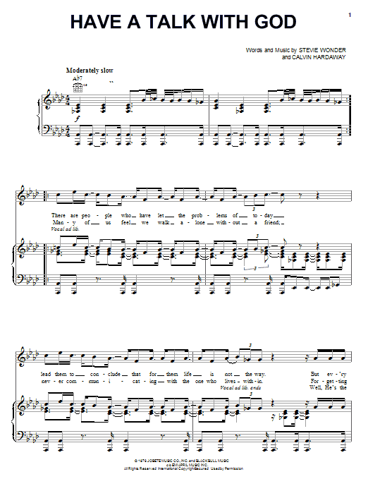 Stevie Wonder Have A Talk With God sheet music preview music notes and score for Piano, Vocal & Guitar (Right-Hand Melody) including 3 page(s)