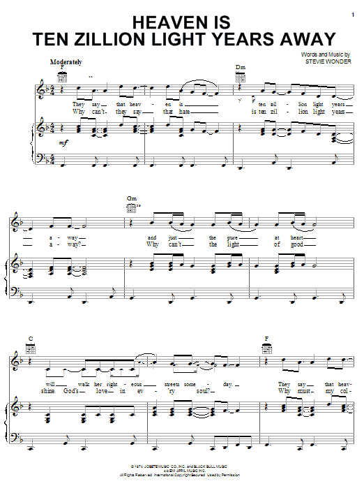 Stevie Wonder Heaven Is Ten Zillion Light Years Away sheet music preview music notes and score for Piano, Vocal & Guitar (Right-Hand Melody) including 7 page(s)