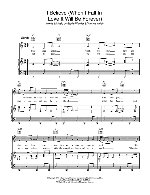 Download Stevie Wonder 'I Believe (When I Fall In Love It Will Be Forever)' Digital Sheet Music Notes & Chords and start playing in minutes