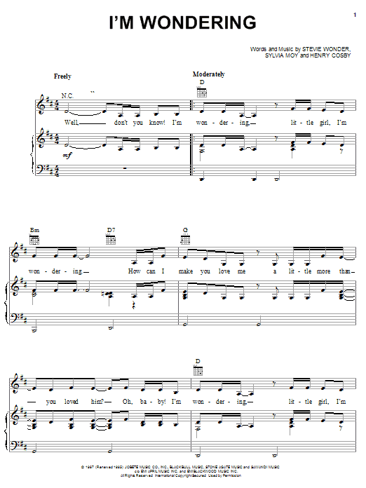 Stevie Wonder I'm Wondering sheet music notes and chords