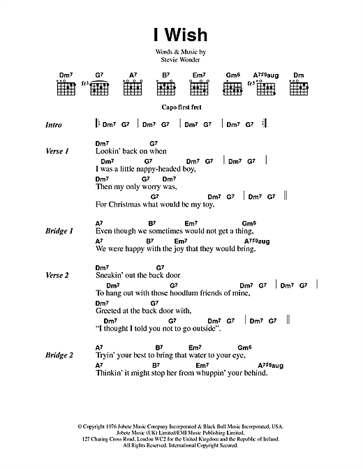 Stevie Wonder I Wish sheet music preview music notes and score for E-Z Play Today including 4 page(s)