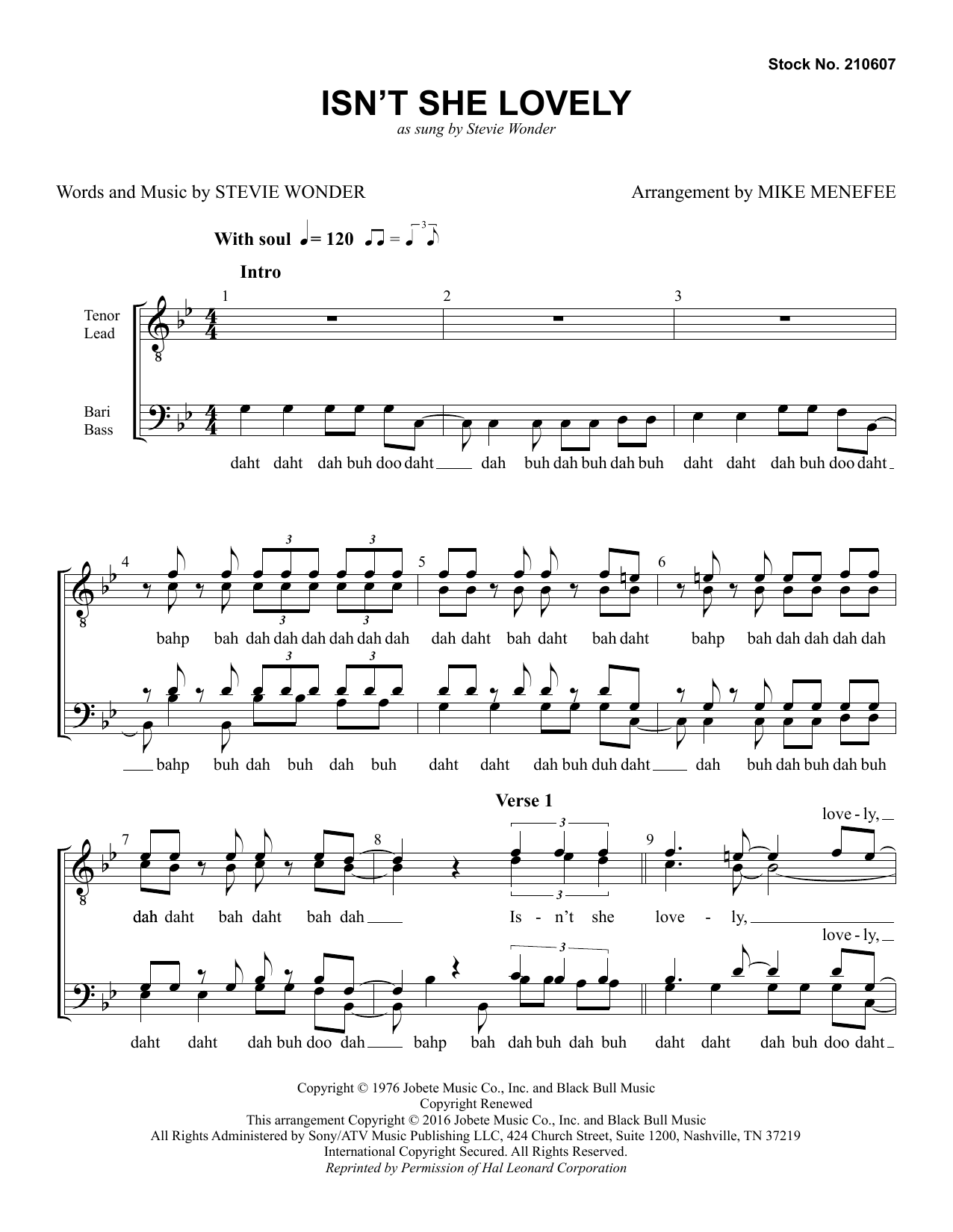 Stevie Wonder Isn't She Lovely (arr. Mike Menefee) sheet music preview music notes and score for TTBB Choir including 7 page(s)