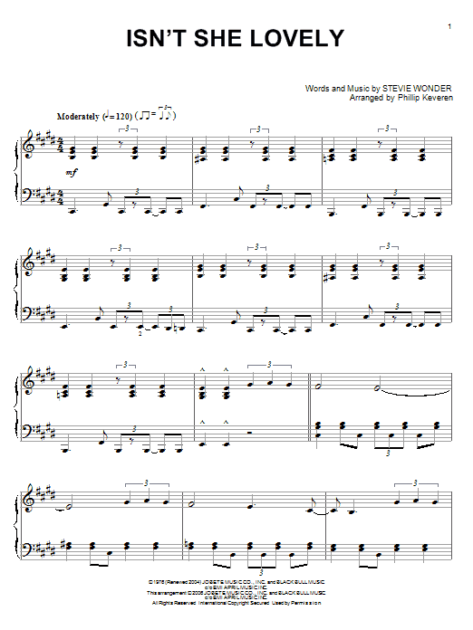 Download Stevie Wonder 'Isn't She Lovely' Digital Sheet Music Notes & Chords and start playing in minutes