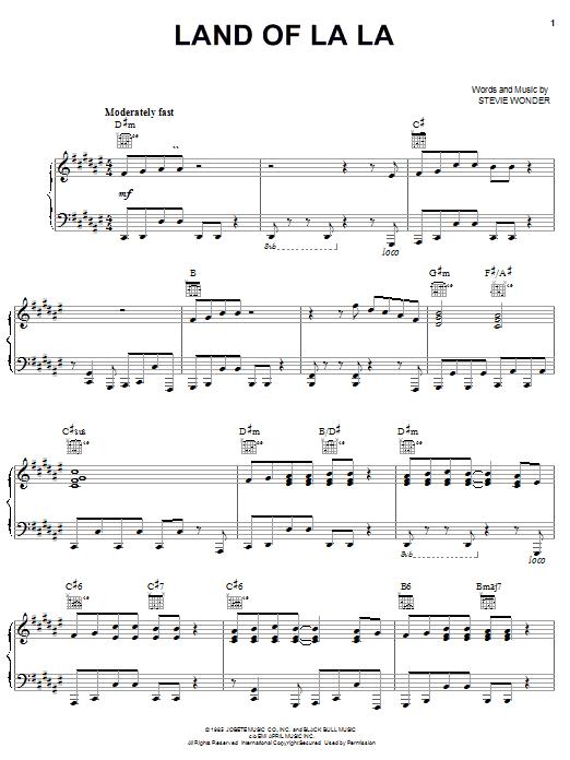 Stevie Wonder Land Of La La sheet music notes and chords