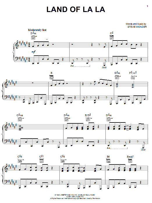 Stevie Wonder Land Of La La sheet music preview music notes and score for Piano, Vocal & Guitar (Right-Hand Melody) including 7 page(s)