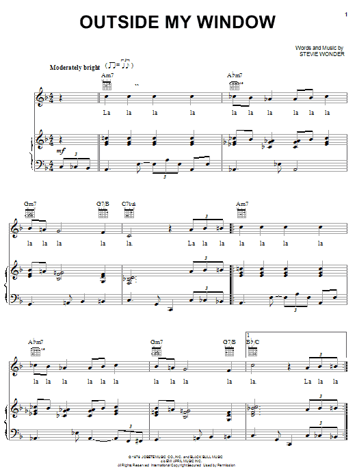 Stevie Wonder Outside My Window sheet music preview music notes and score for Piano, Vocal & Guitar (Right-Hand Melody) including 5 page(s)