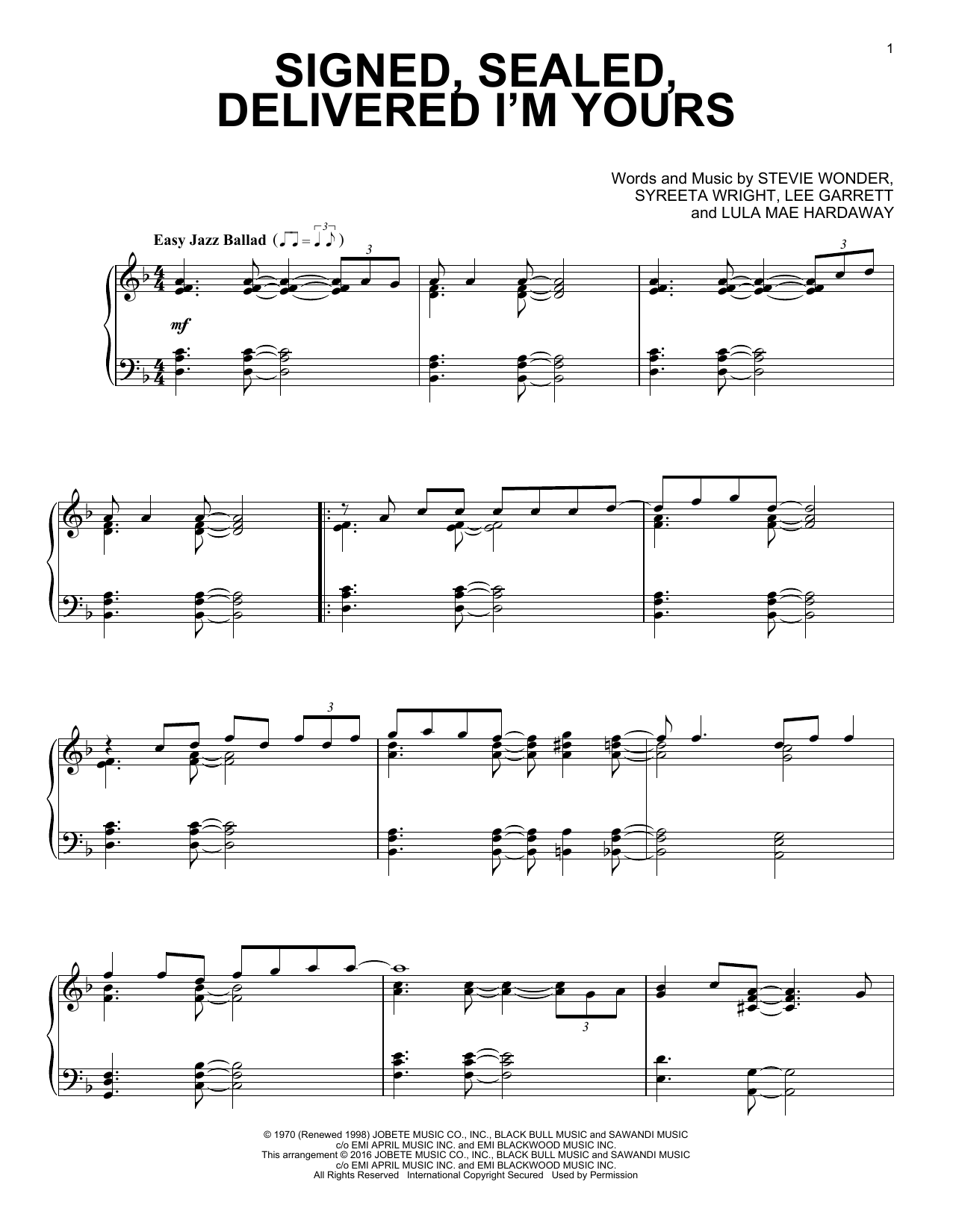 Download Stevie Wonder 'Signed, Sealed, Delivered I'm Yours' Digital Sheet Music Notes & Chords and start playing in minutes