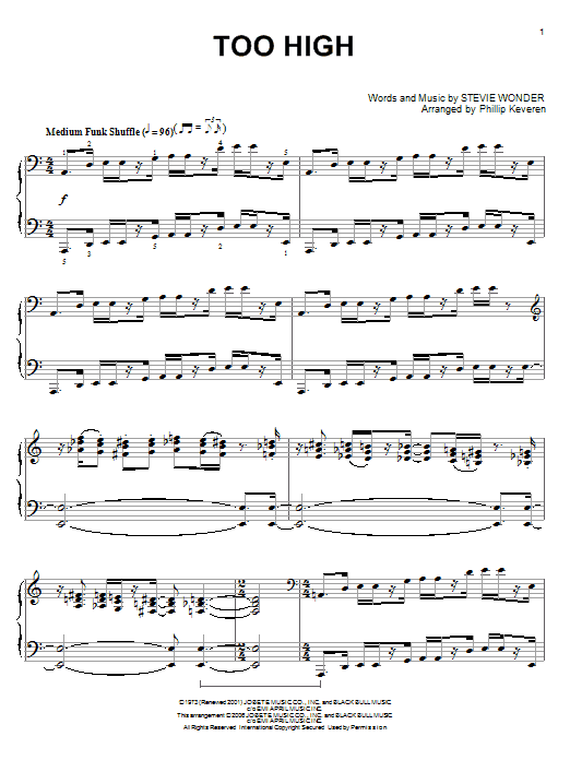 Download Stevie Wonder 'Too High' Digital Sheet Music Notes & Chords and start playing in minutes