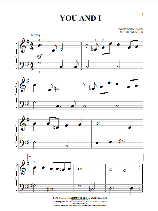 Stevie Wonder You And I sheet music preview music notes and score for Piano, Vocal & Guitar (Right-Hand Melody) including 3 page(s)