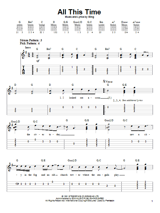 Sting All This Time sheet music preview music notes and score for Easy Guitar Tab including 4 page(s)