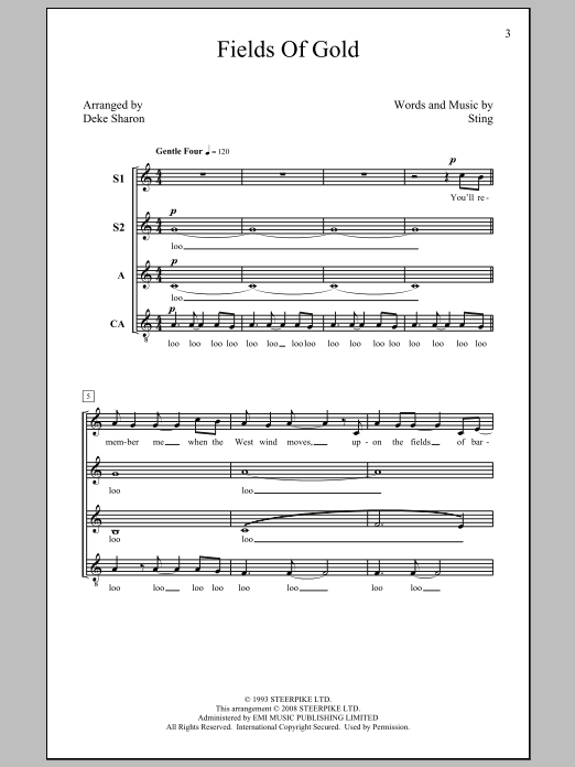 Sting Fields Of Gold (arr. Deke Sharon) sheet music preview music notes and score for SSA including 8 page(s)