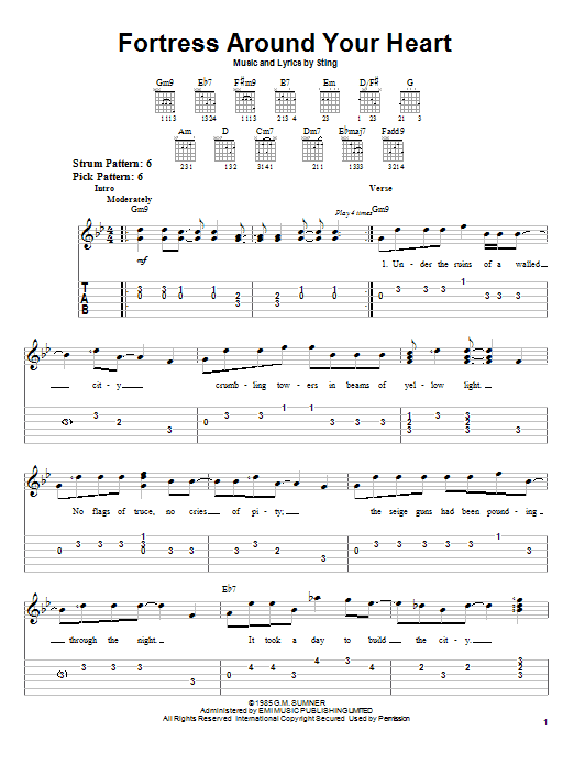 Sting Fortress Around Your Heart sheet music preview music notes and score for Easy Guitar Tab including 5 page(s)