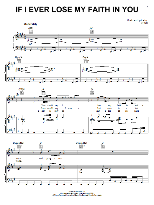 Sting If I Ever Lose My Faith In You sheet music preview music notes and score for Piano, Vocal & Guitar (Right-Hand Melody) including 6 page(s)