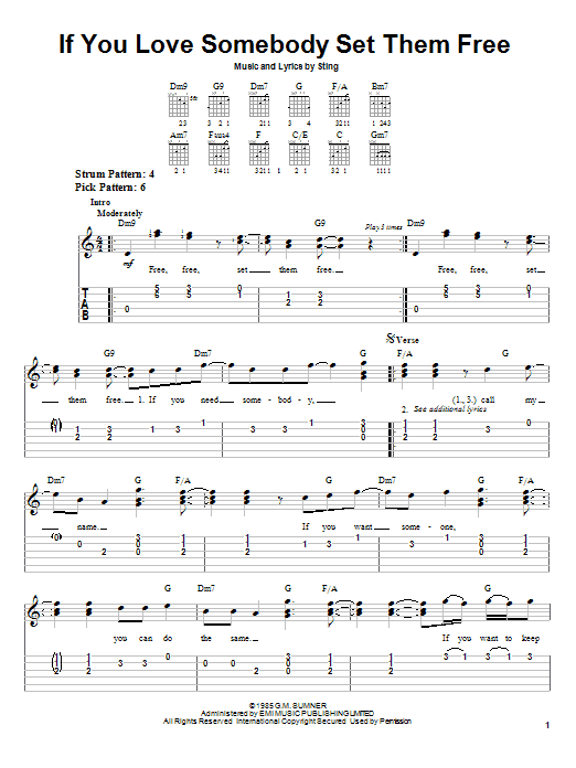 Sting If You Love Somebody Set Them Free sheet music preview music notes and score for Easy Guitar Tab including 4 page(s)