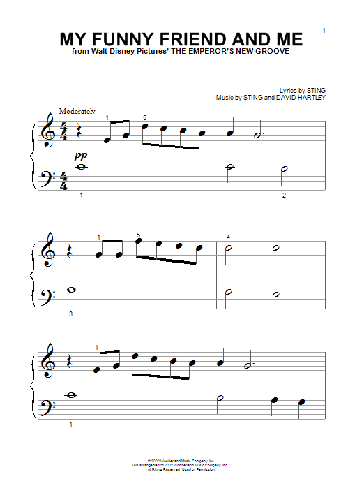 Sting My Funny Friend And Me sheet music preview music notes and score for Piano (Big Notes) including 4 page(s)