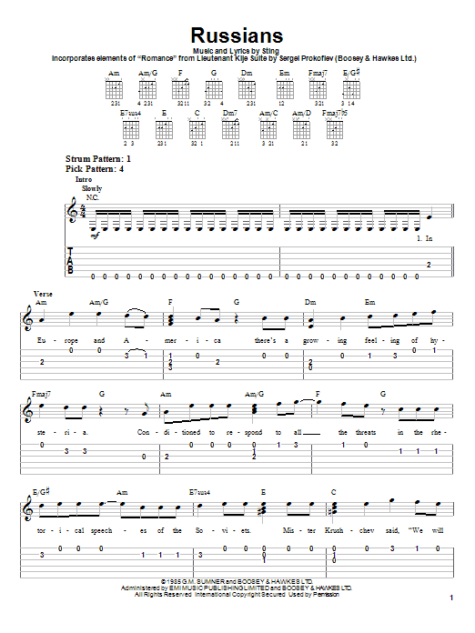 Sting Russians sheet music notes and chords