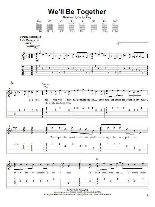 Sting We'll Be Together sheet music preview music notes and score for Easy Guitar Tab including 3 page(s)