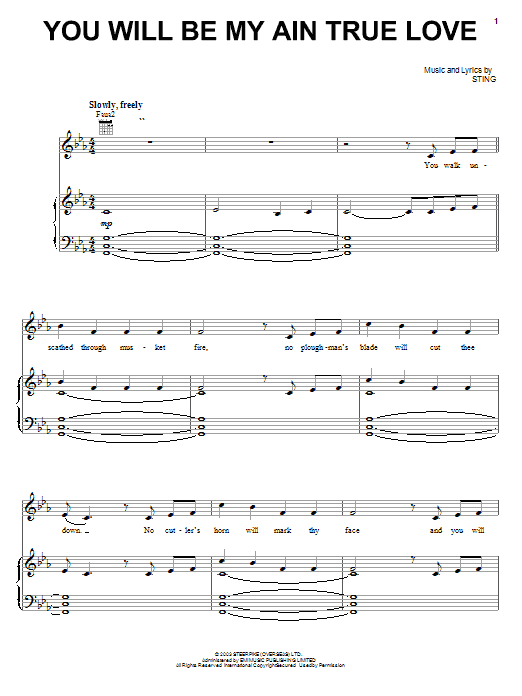 Sting You Will Be My Ain True Love sheet music preview music notes and score for Piano, Vocal & Guitar (Right-Hand Melody) including 3 page(s)
