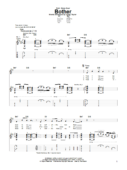 Stone Sour Bother sheet music notes and chords