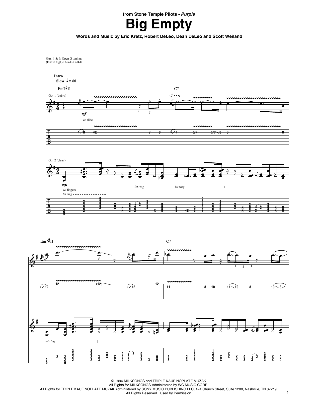 Stone Temple Pilots Big Empty sheet music preview music notes and score for Guitar Tab including 10 page(s)