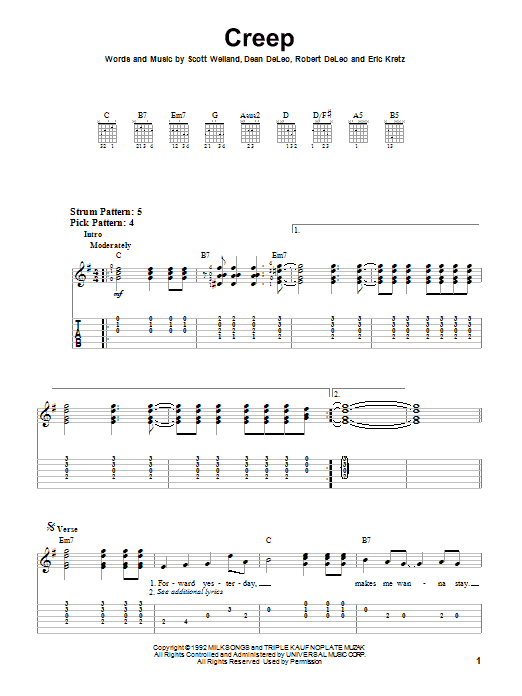 Stone Temple Pilots Creep sheet music preview music notes and score for Guitar Tab including 7 page(s)