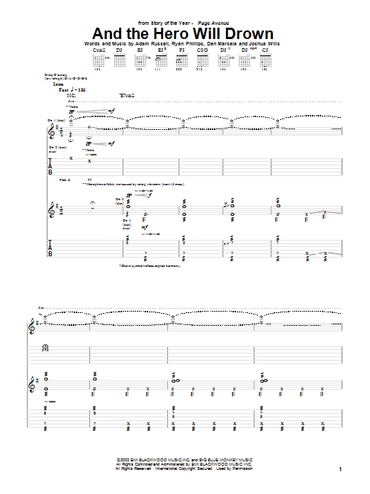 Story Of The Year And The Hero Will Drown sheet music preview music notes and score for Guitar Tab including 16 page(s)