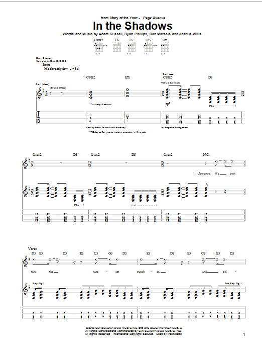 Story Of The Year In The Shadows sheet music preview music notes and score for Guitar Tab including 9 page(s)