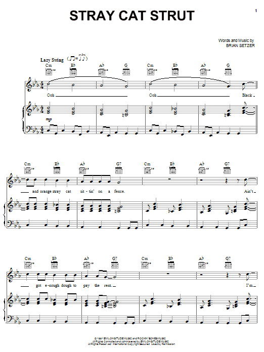 Stray Cats Stray Cat Strut sheet music preview music notes and score for Lyrics & Chords including 3 page(s)