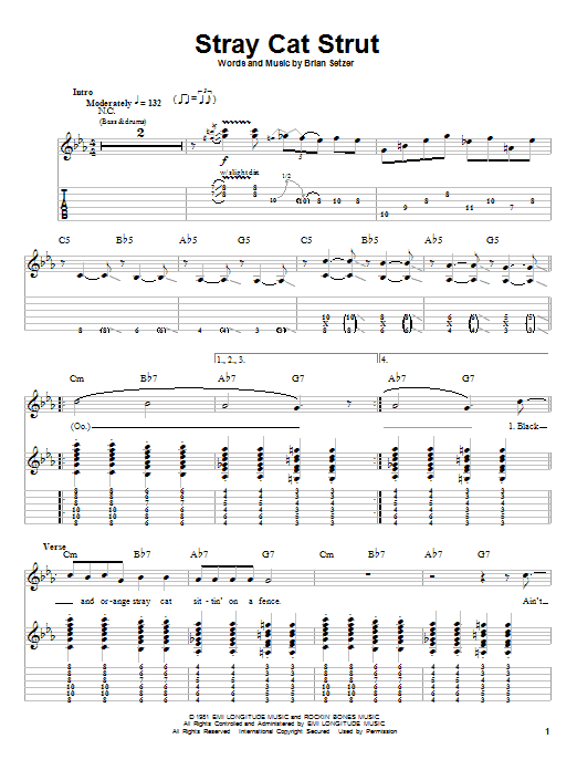 Stray Cats Stray Cat Strut sheet music preview music notes and score for Guitar Tab including 6 page(s)
