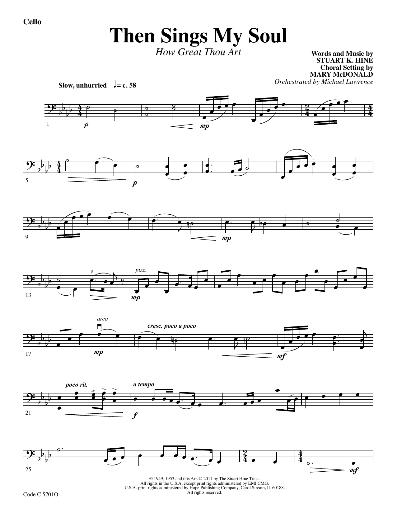 Stuart K. Hine Then Sings My Soul (How Great Thou Art) - Cello sheet music preview music notes and score for Choir Instrumental Pak including 2 page(s)