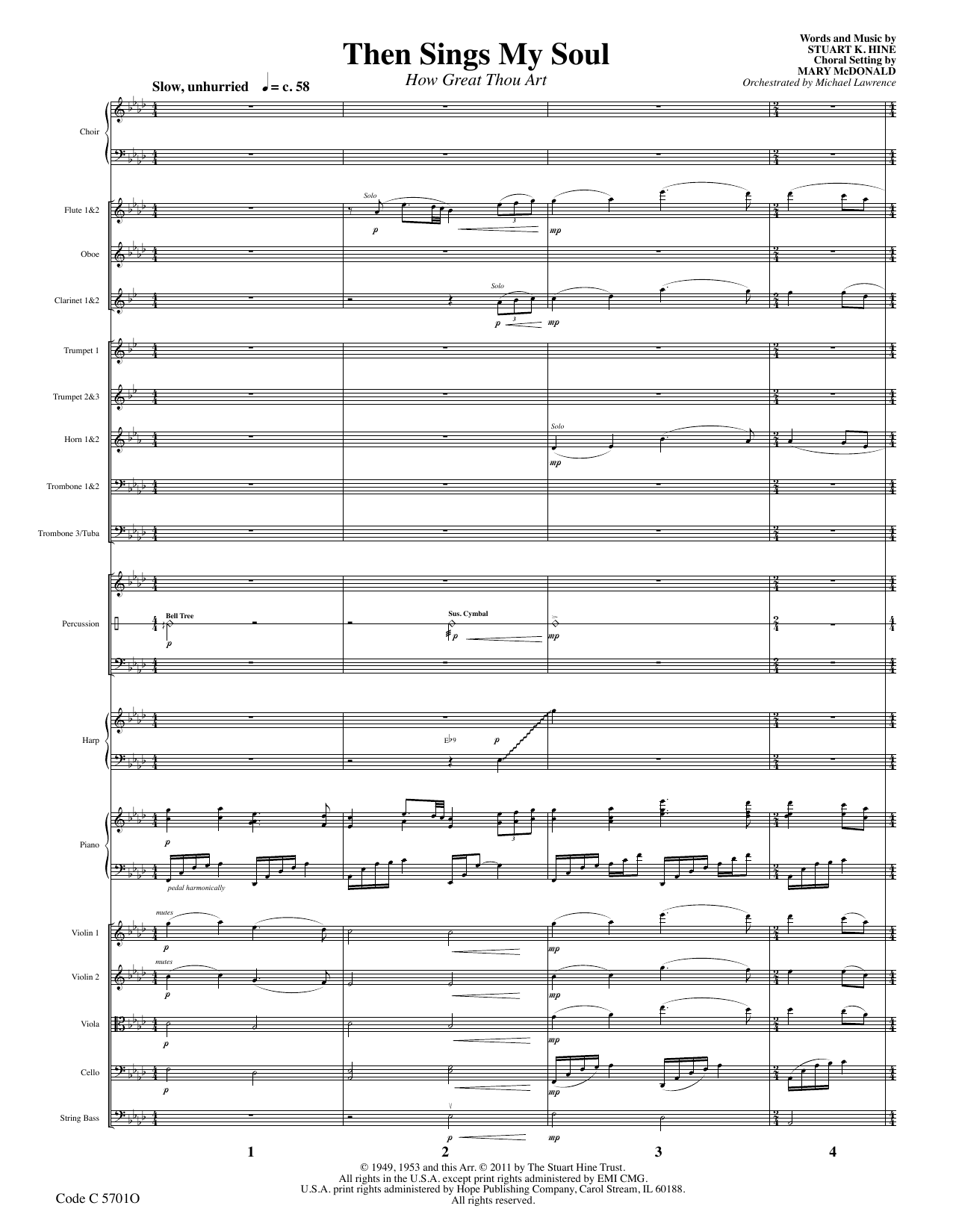 Stuart K. Hine Then Sings My Soul (How Great Thou Art) - Full Score sheet music preview music notes and score for Choir Instrumental Pak including 17 page(s)