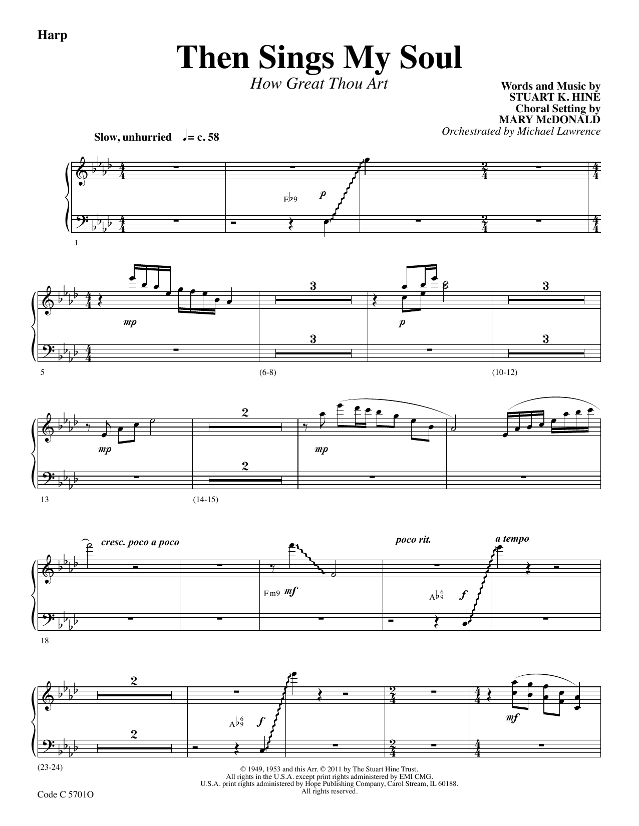 Stuart K. Hine Then Sings My Soul (How Great Thou Art) - Harp sheet music preview music notes and score for Choir Instrumental Pak including 2 page(s)