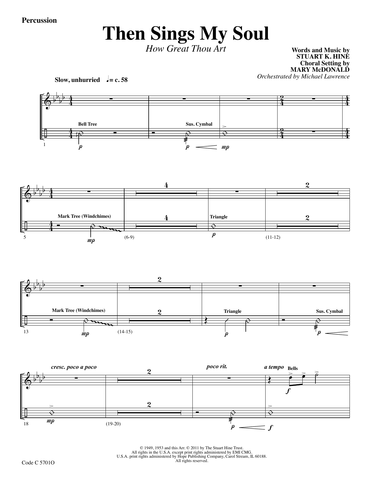 Stuart K. Hine Then Sings My Soul (How Great Thou Art) - Percussion sheet music preview music notes and score for Choir Instrumental Pak including 3 page(s)