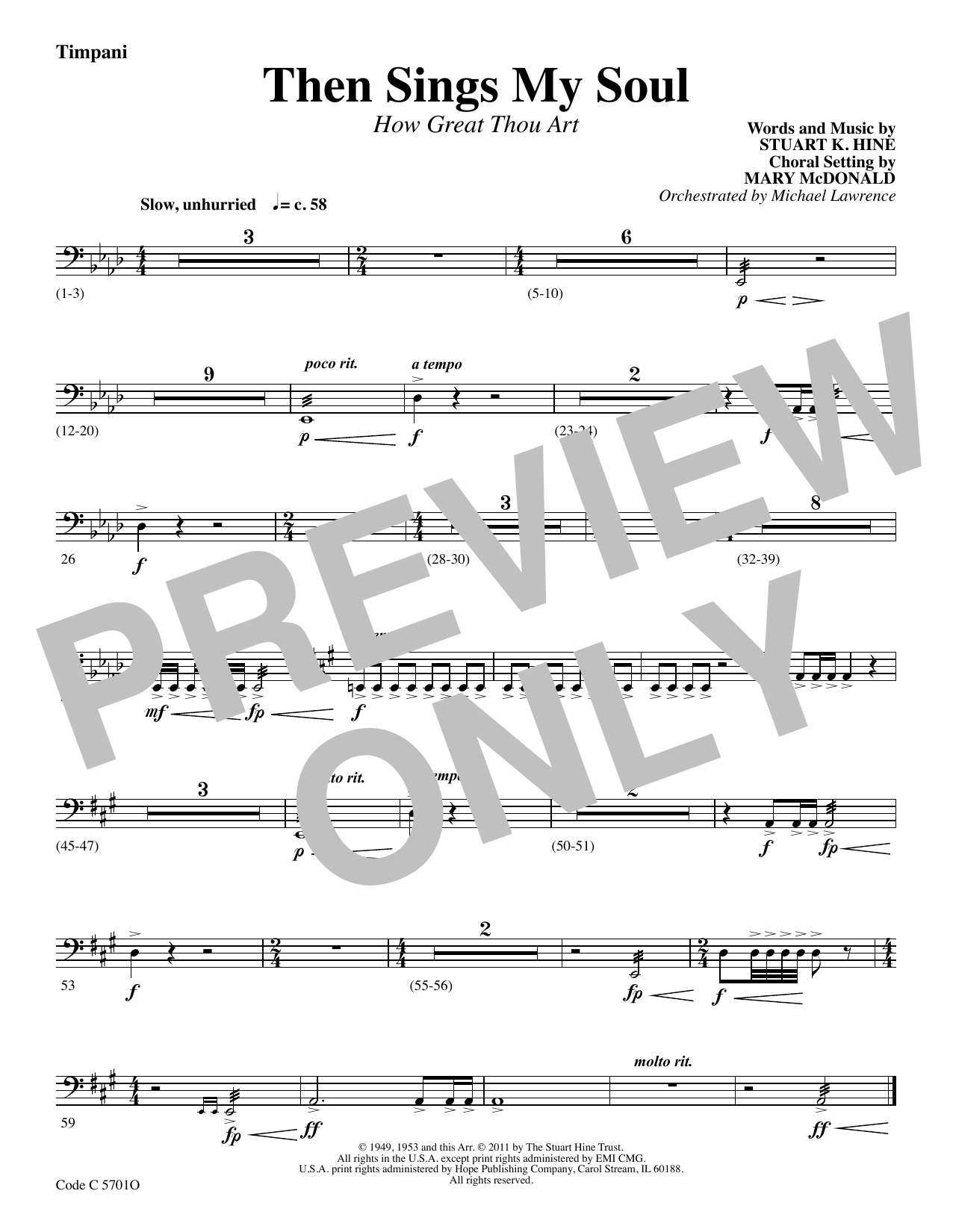 Stuart K. Hine Then Sings My Soul (How Great Thou Art) - Timpani sheet music preview music notes and score for Choir Instrumental Pak including 1 page(s)