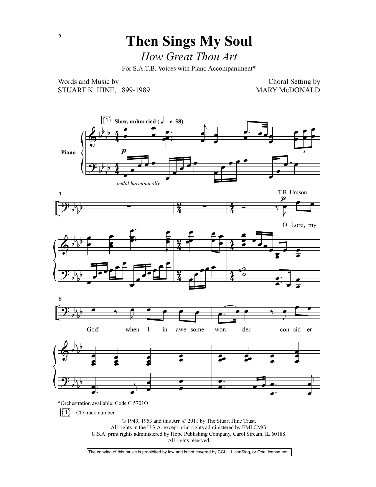 Stuart K. Hine Then Sings My Soul (How Great Thou Art) (arr. Mary McDonald) sheet music preview music notes and score for SATB Choir including 10 page(s)