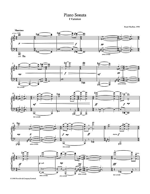 Download Stuart MacRae 'Piano Sonata, I Variation' Digital Sheet Music Notes & Chords and start playing in minutes