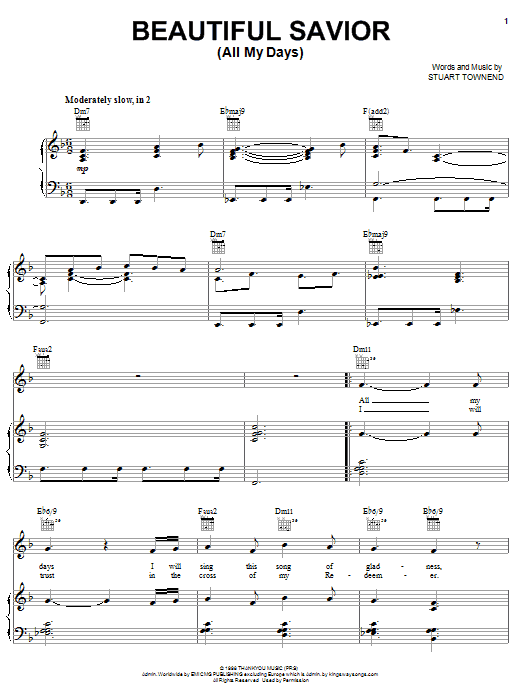 Download Stuart Townend 'Beautiful Savior (All My Days)' Digital Sheet Music Notes & Chords and start playing in minutes